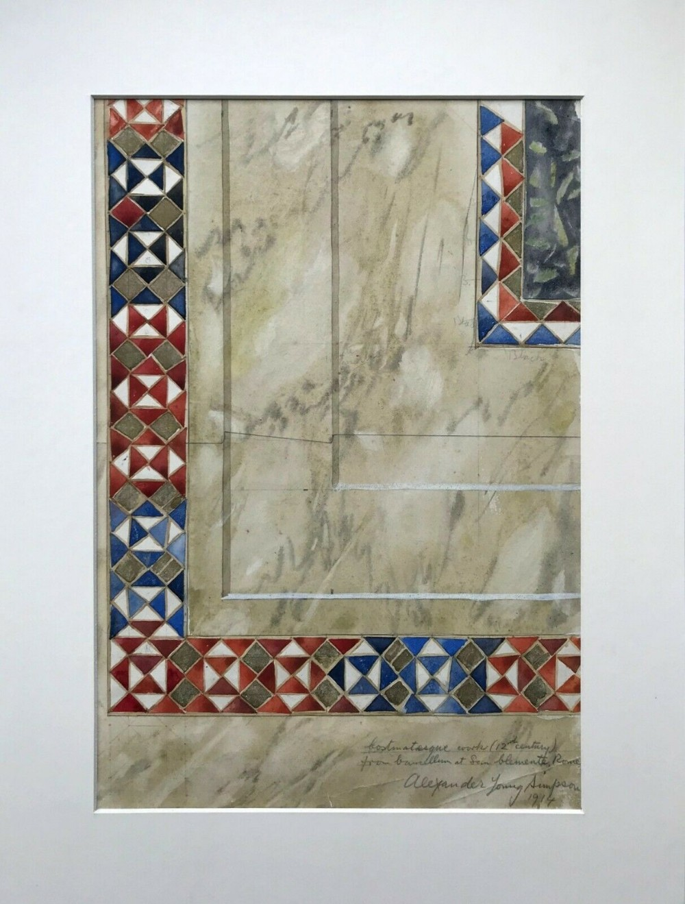 architecture study cosmatesque st clement rome italy original antique watercolour painting