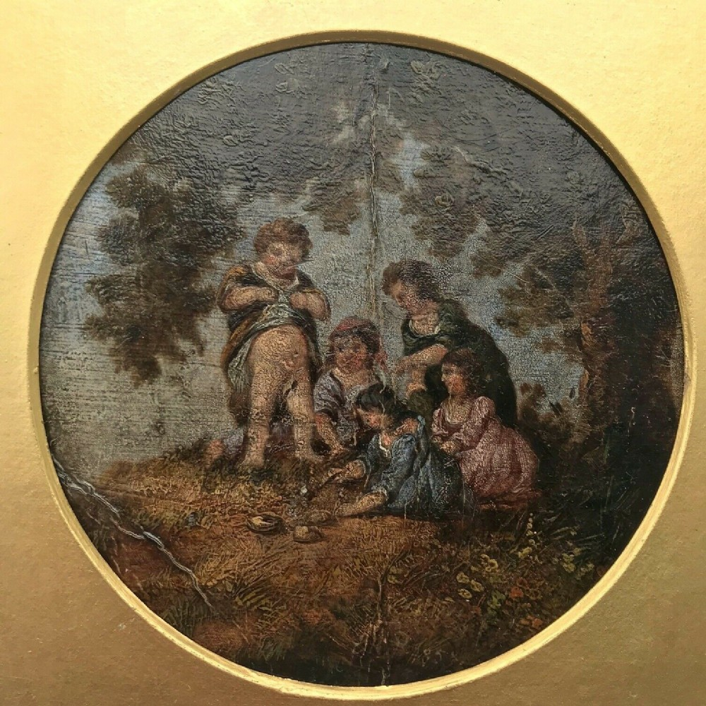 original english 19th century antique oil painting indistinctly signed dated children under tree titled recipe for making sand pies