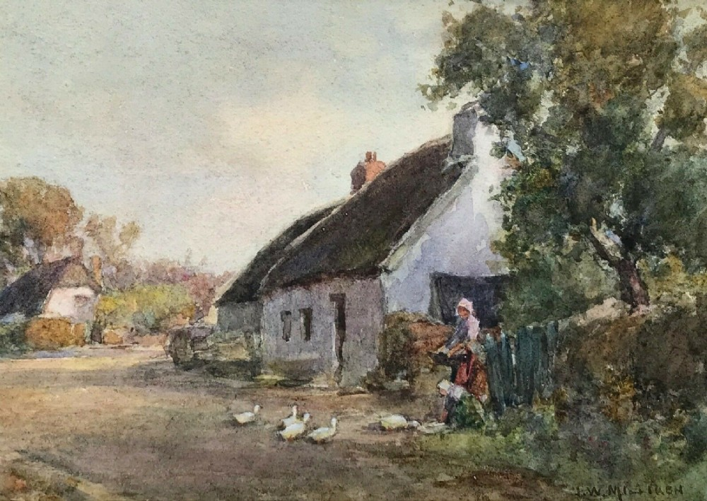 james w milliken signed original antique english watercolour painting cottage figure geese landscape