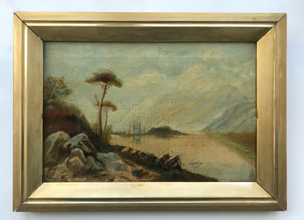 signed baker original 19th century antique oil painting lake castle scottish landscape