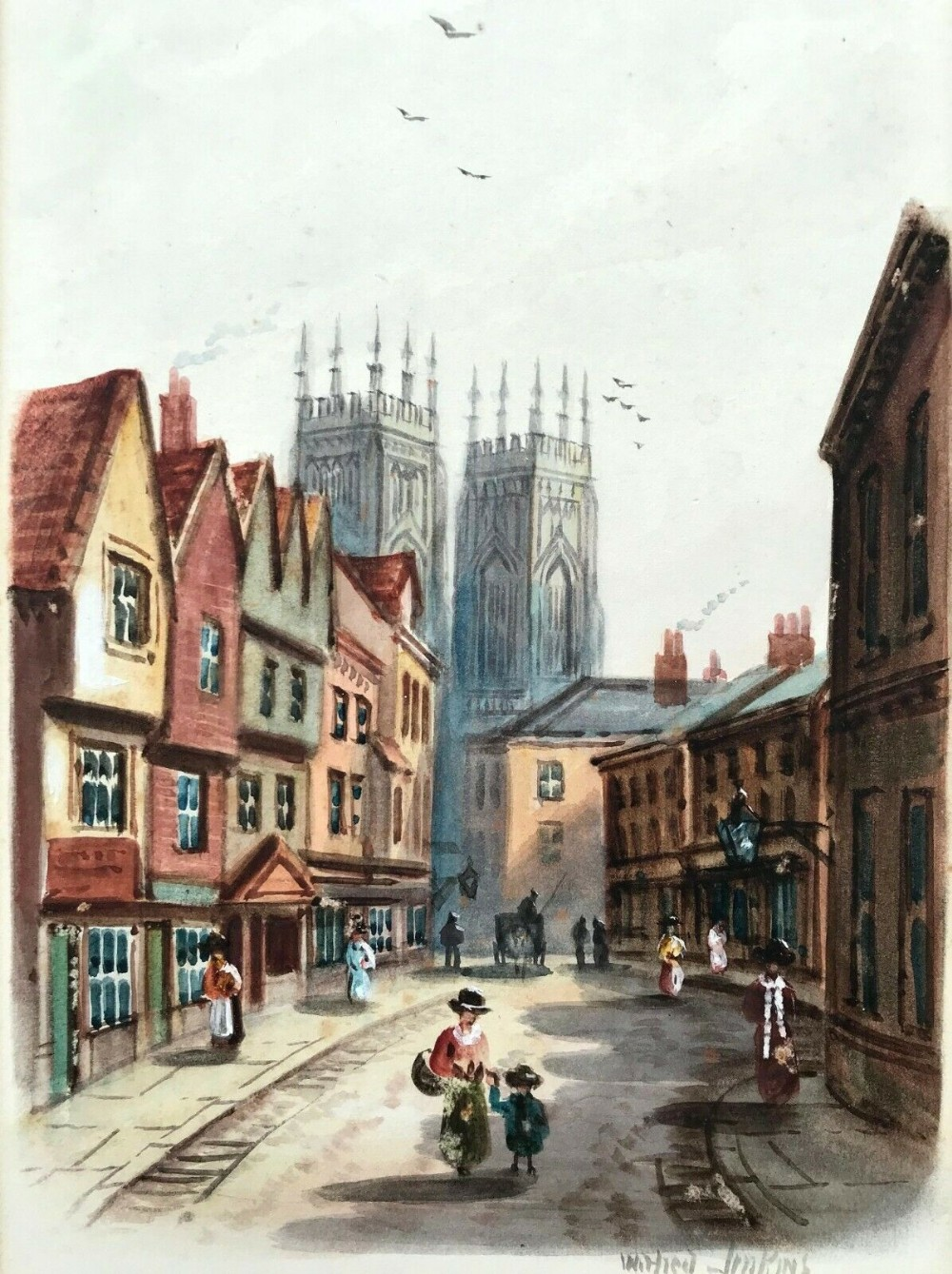 wilfred bosworth jenkins original early 19th century antique watercolour painting petergate york yorkshire landscape