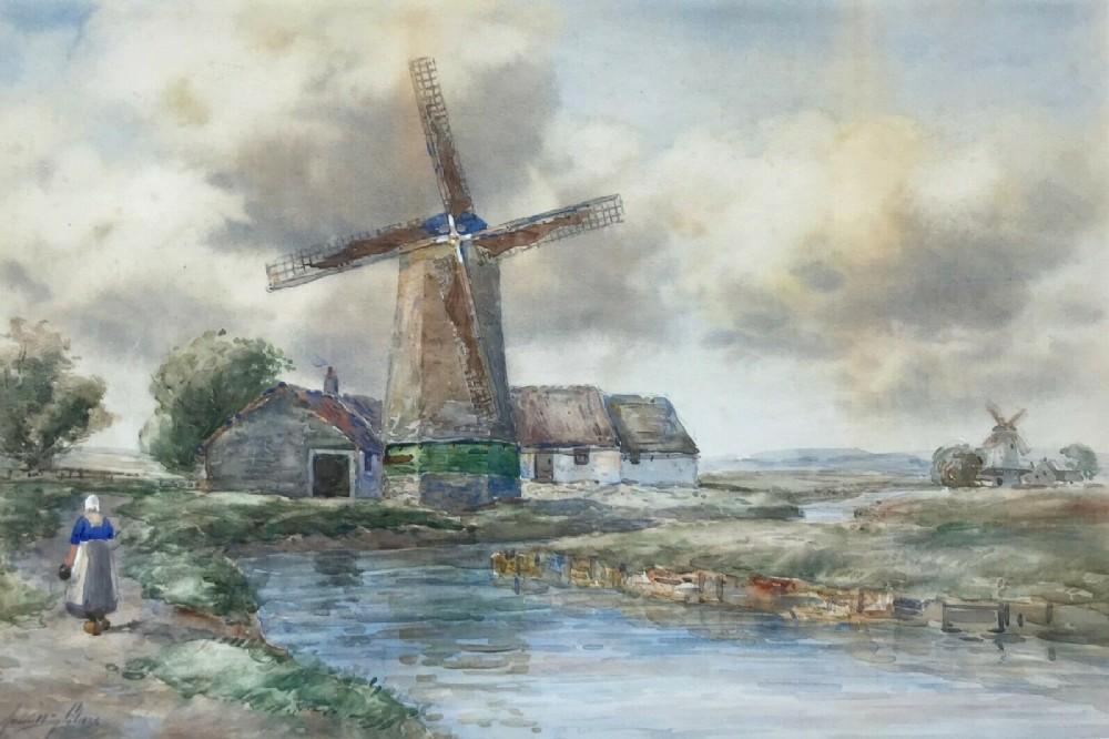 john hamilton glass original antique watercolour painting veere windmill holland dutch landscape