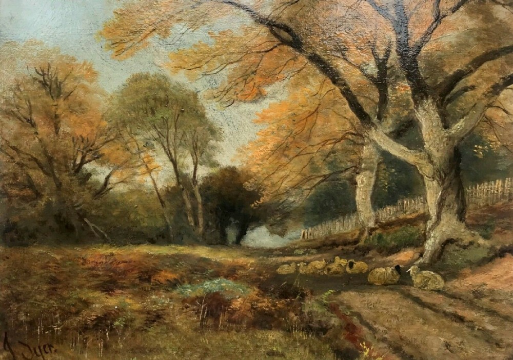 john syer signed original late 19th century antique oil painting sheep resting in tree landscape