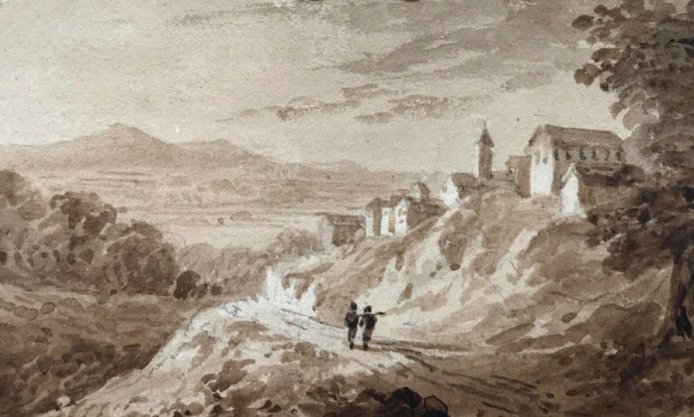 william page original antique 1829 watercolour painting on embossed card view in italy italian landscape