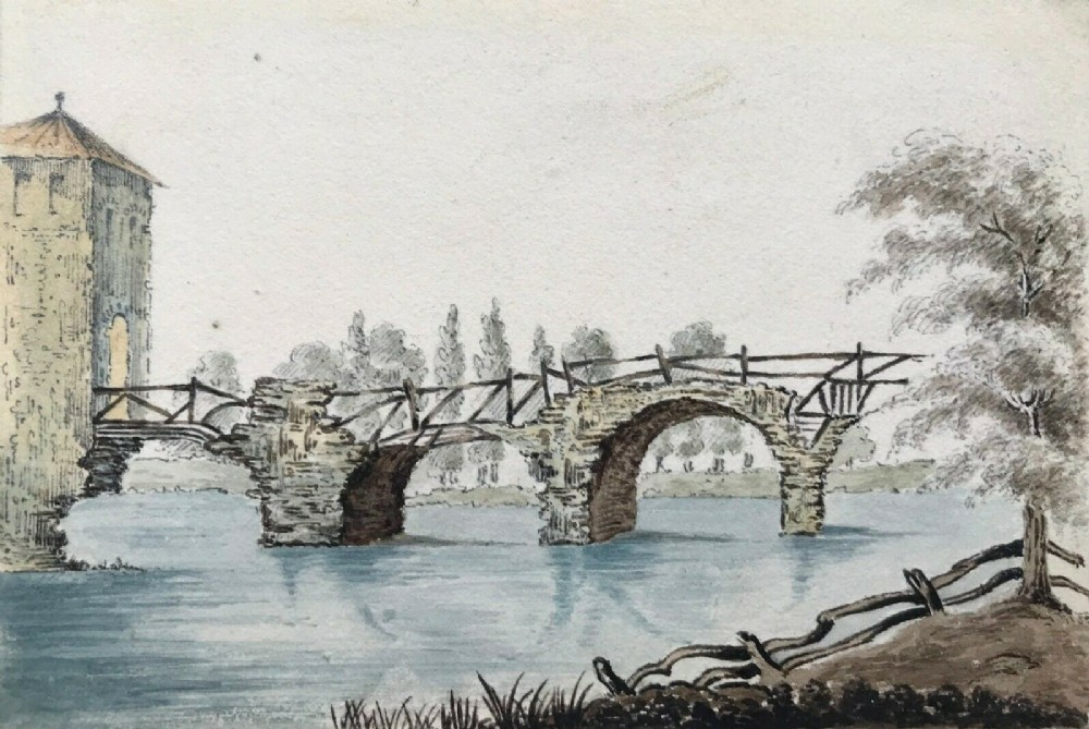 william page original antique watercolour painting bridge augustus narni italy italian landscape