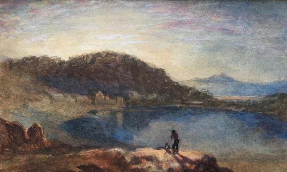 circle of jmw turner original early 19th century antique watercolour painting mountain landscape