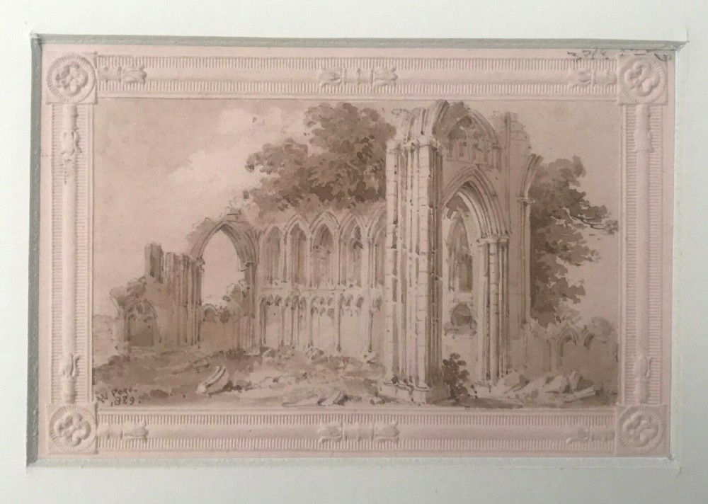 william page original early 19th century antique 1829 watercolour painting st mary's abbey york embossed paper christmas card with provenance