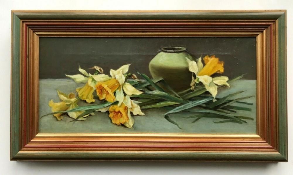 original antique canvas oil painting daffodils vase still life flowers