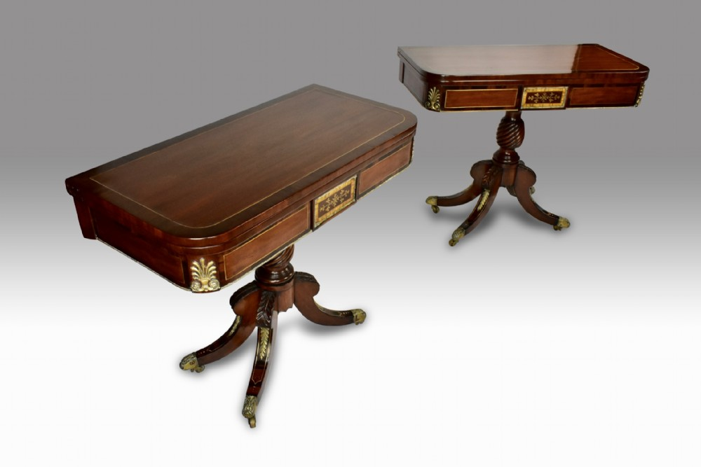 a superb pair of irish regency mahogany brass inlaid cardtea tables
