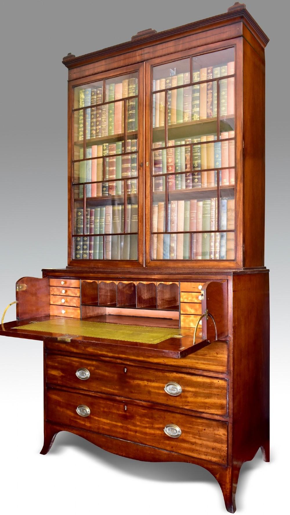 a fine regency mahogany ebony inlaid secretaire bookcase