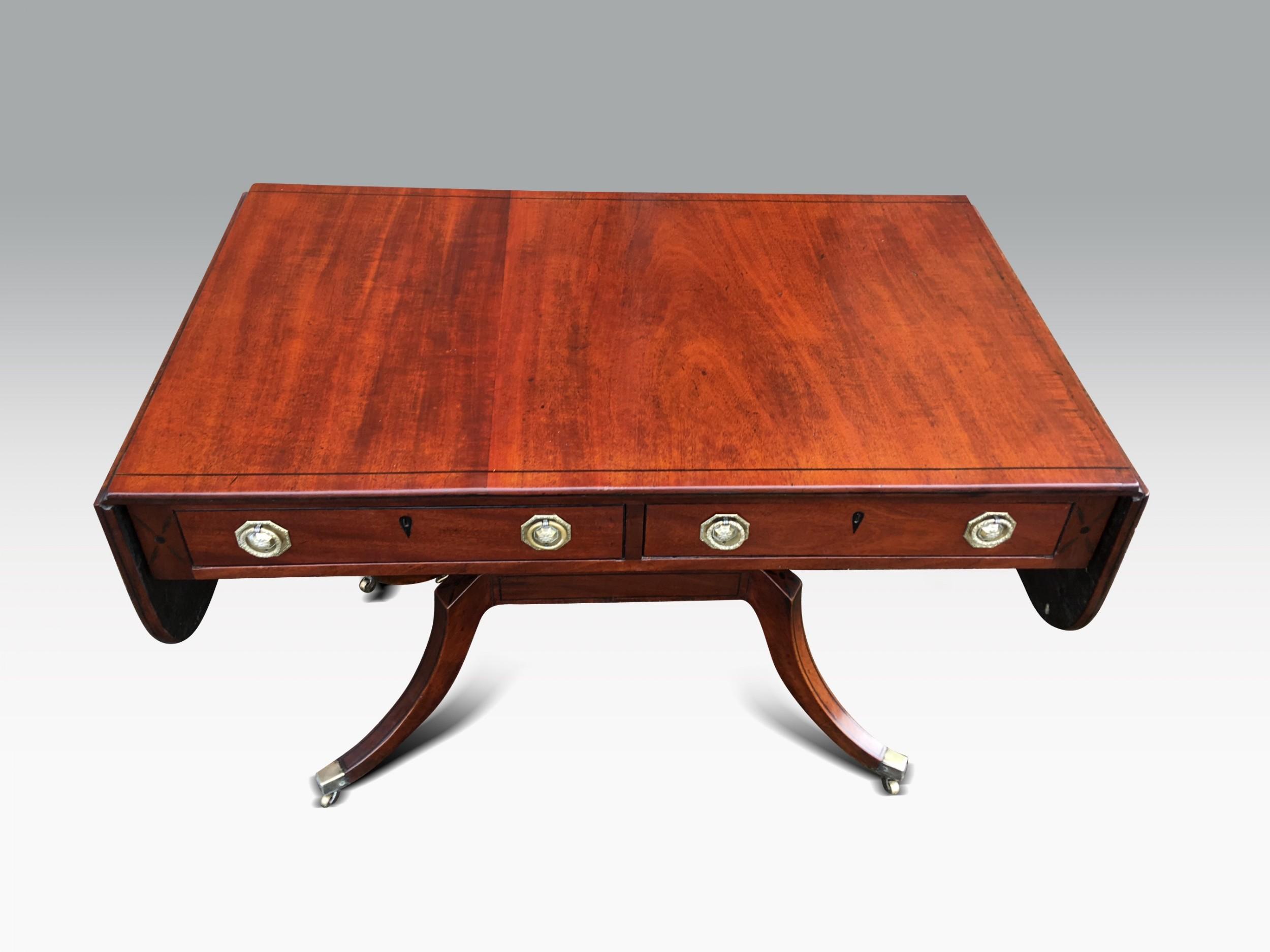 a fine regency mahogany ebony inlaid sofa table