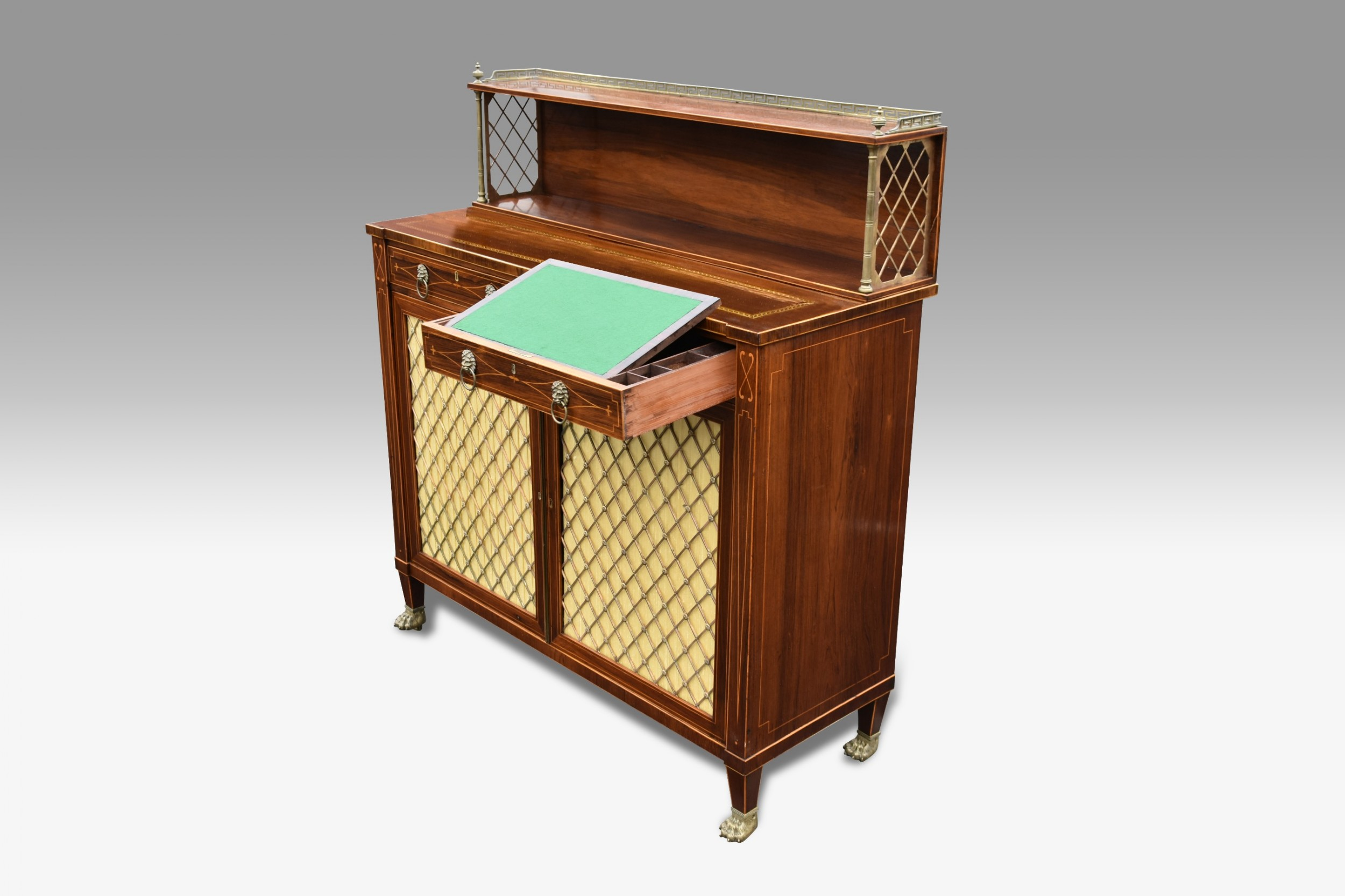 a superb regency rosewood and boxwood inlaid chiffioner attributed to john mclean