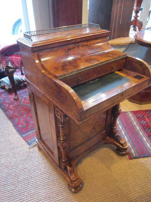 Fine Victorian Burr Walnut Harlequin Davenport Desk