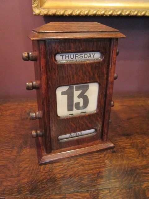 Edwardian Oak Perpetual Desk Calendar 376369 Sellingantiquescouk
