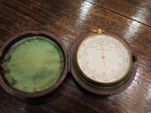 quality victorian gilded pocket barometer