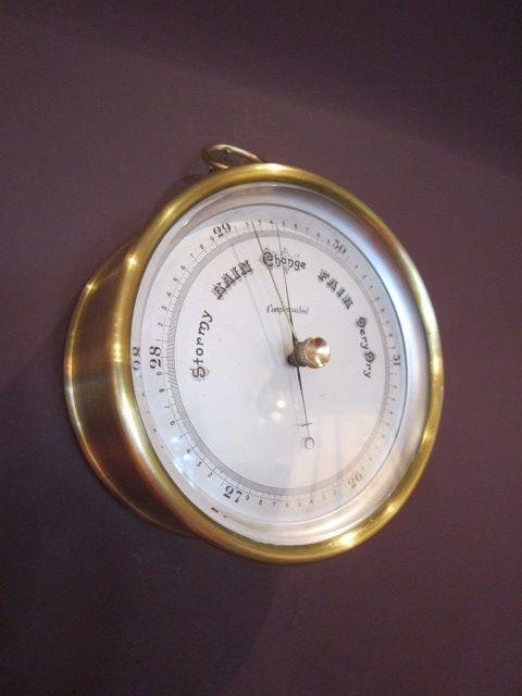 high quality victorian gilt brass marine barometer