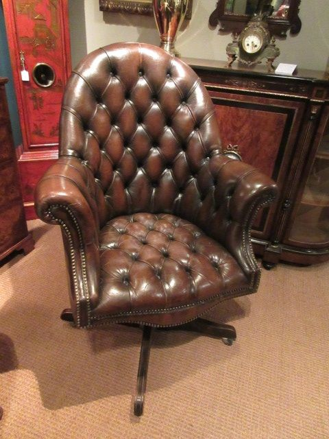 Cool Very Unusual 1930S Leather Buttoned Swivel Desk Chair Machost Co Dining Chair Design Ideas Machostcouk