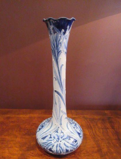 Tall Art Nouveau Mcintyre Moorcroft Blue Cornflower Vase 616278 Sellingantiques Co Uk