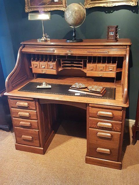 Unique Antique Writing Bureau With Leather Stool And 1 Drawer Bureaux