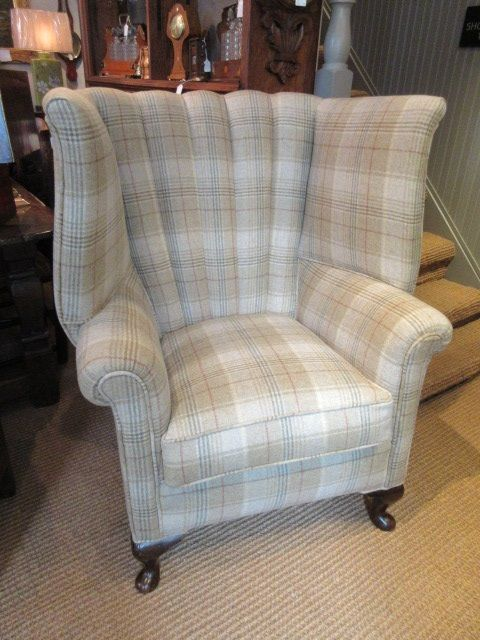 superb victorian ribbed barrel back wing armchair