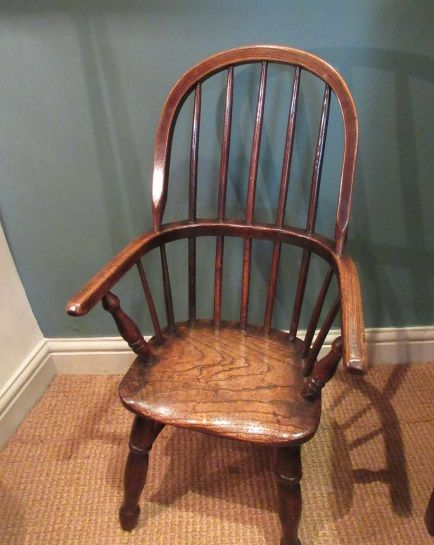 mid 19th century ash elm child's windsor armchair