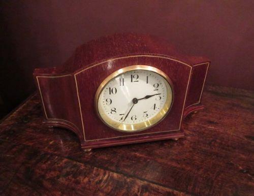 edwardian period mahogany inlaid mantel clock