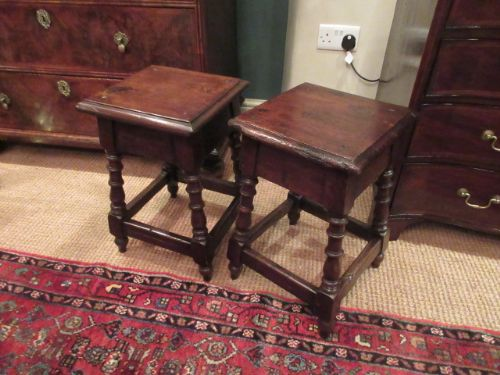 pair of george iii period fruitwood joint stools