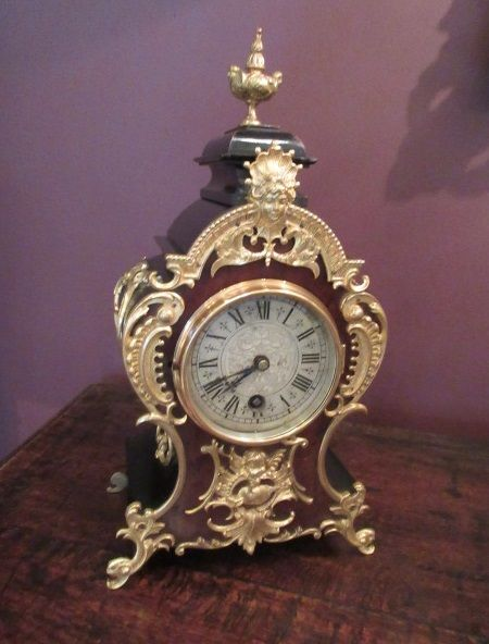 19th century 8 day walnut ebony mantel clock