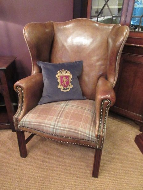 superb 19th century antique leather wing armchair