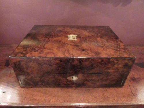 superb early victorian burr walnut jewel box