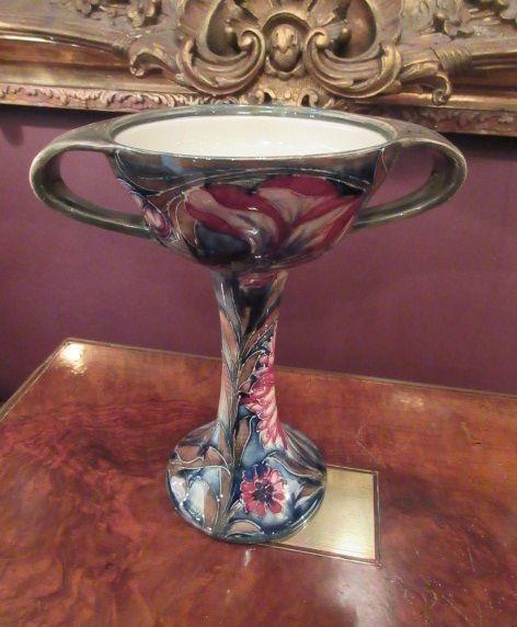antique moorcroft spanish twin handled vase