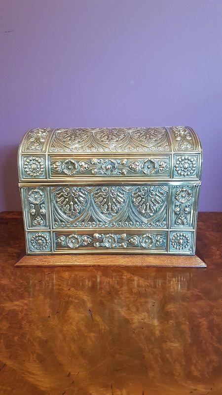 antique oak brass desktop stationery box