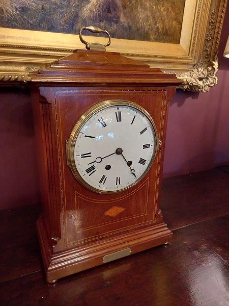antique sheraton inlaid bracket clock