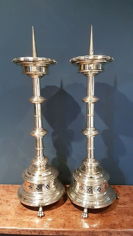 large pair of antique brass church candlesticks