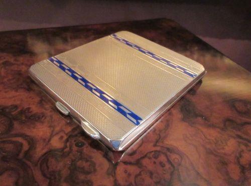 superb george v silver blue enamel case