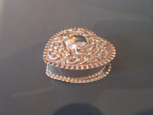 edwardian silver heart shaped trinket box