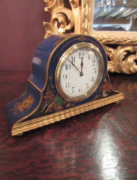 antique chinioserie blue mantel clock