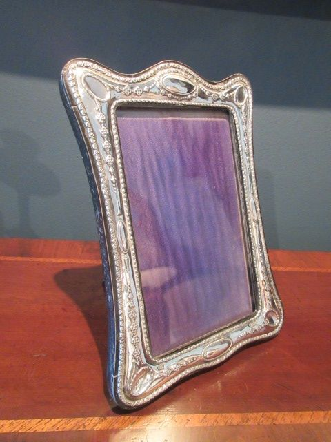 antique solid silver classical design photo frame