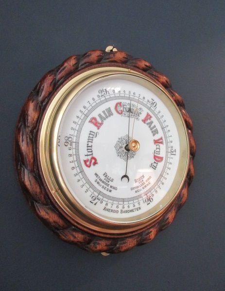 antique solid oak rope twist ship's barometer