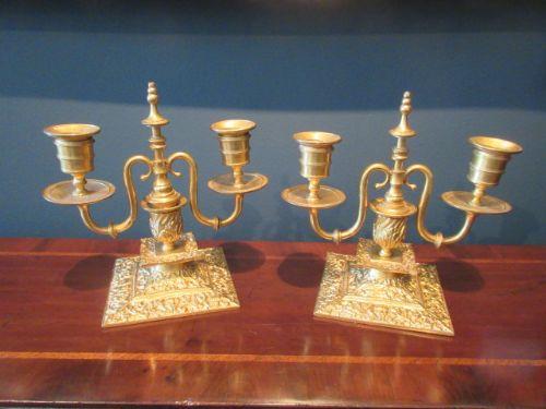 pair of antique gilt ormolu two arm candlesticks