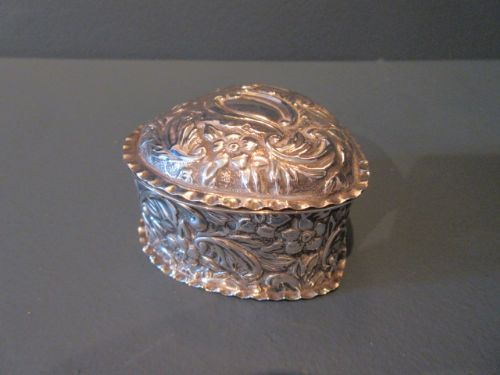 antique solid silver heart shaped box