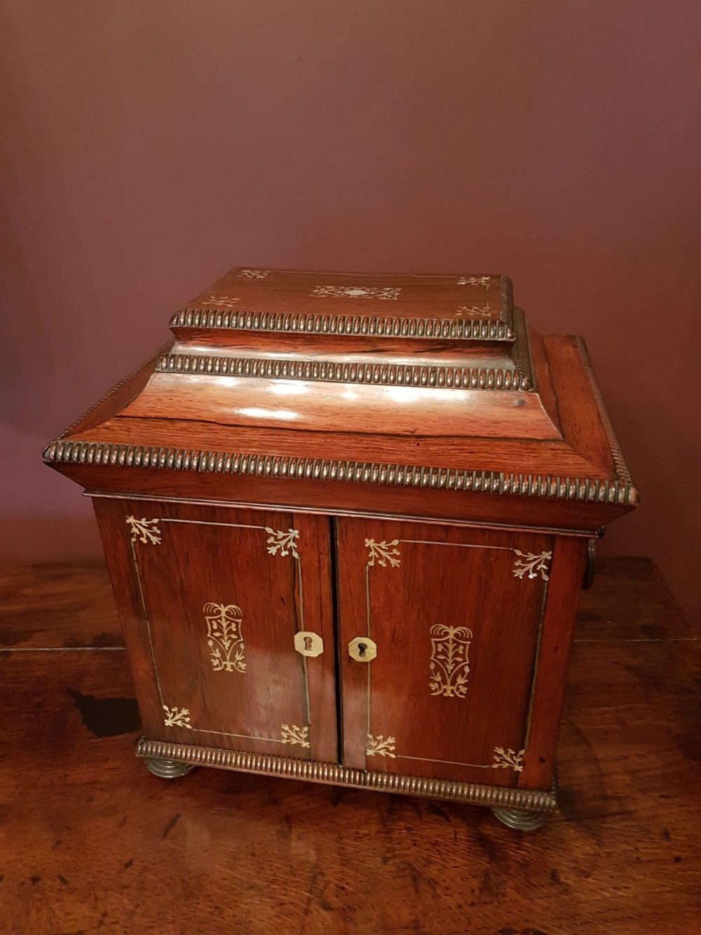 superb early victorian rosewood sewing cabinet
