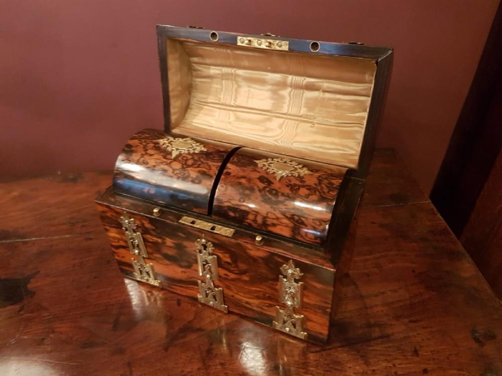 outstanding quality early victorian coromandel tea caddy