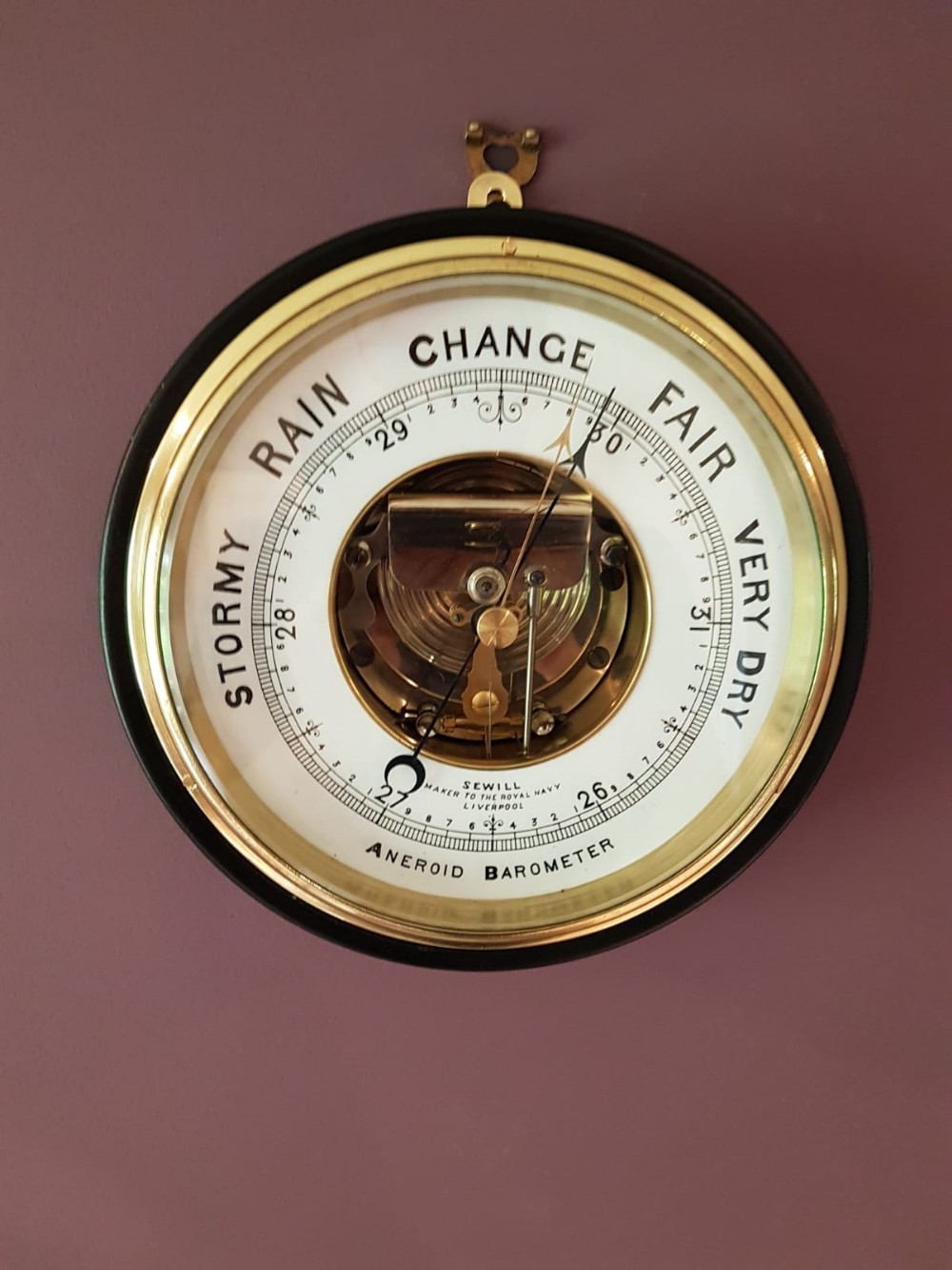antique royal navy barometer by sewill of liverpool