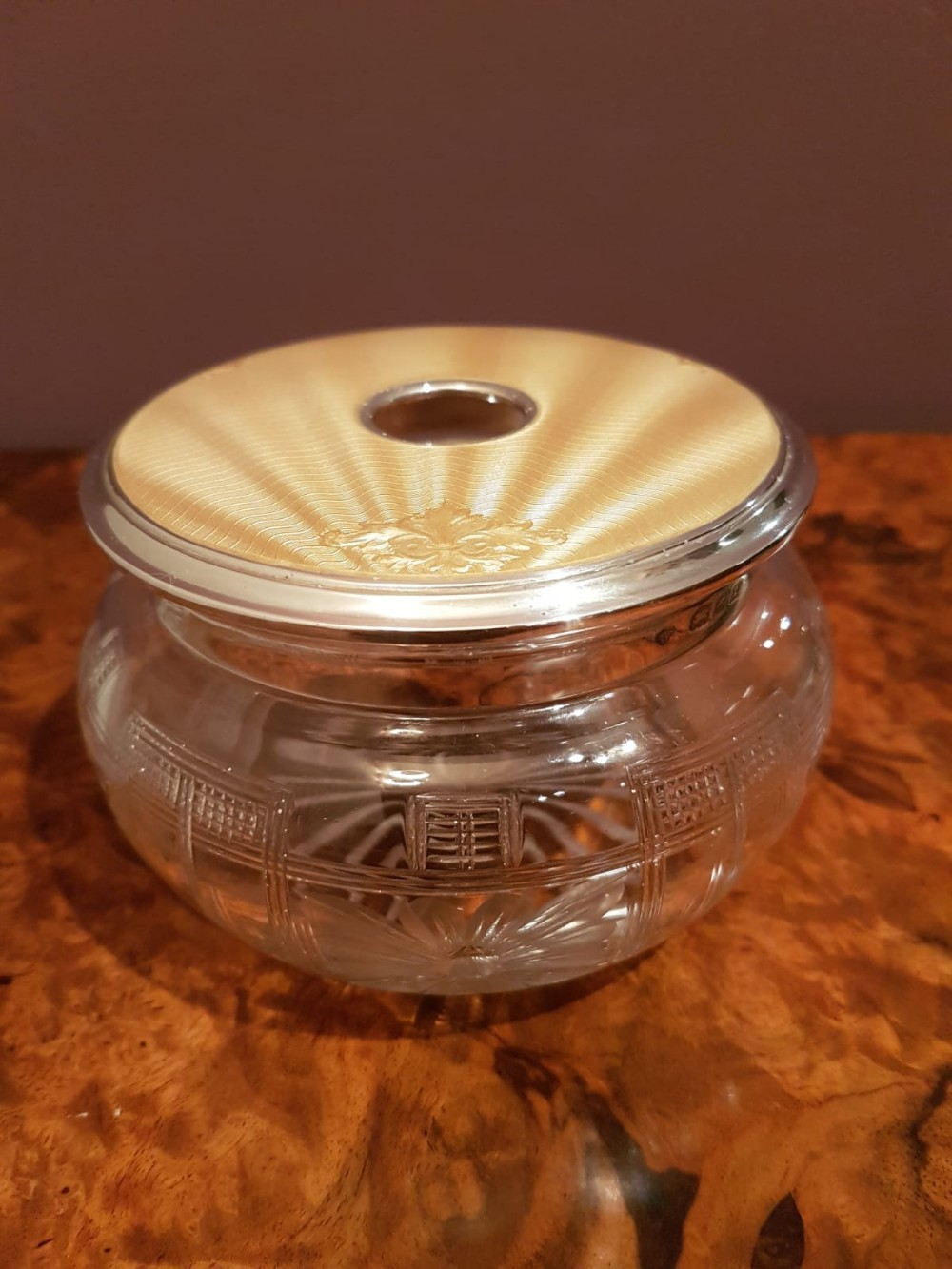 silver and champagne gold enamel dressing table jar
