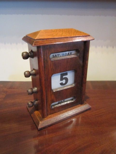 Perpetual Calendar Desk : Edwardian oak perpetual desk calendar