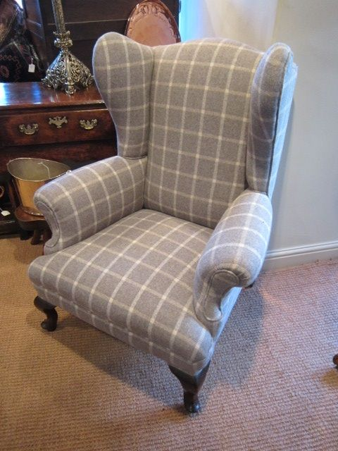 Stylish George Iii Upholstered Wing Armchair 258991