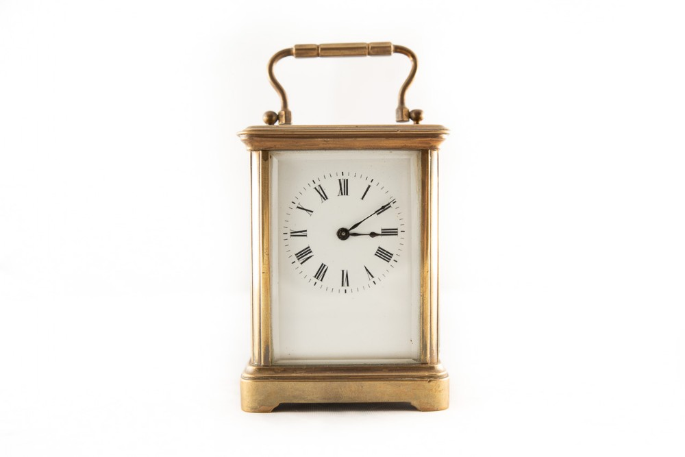 8 day miniature brass cased timepiece carriage clock