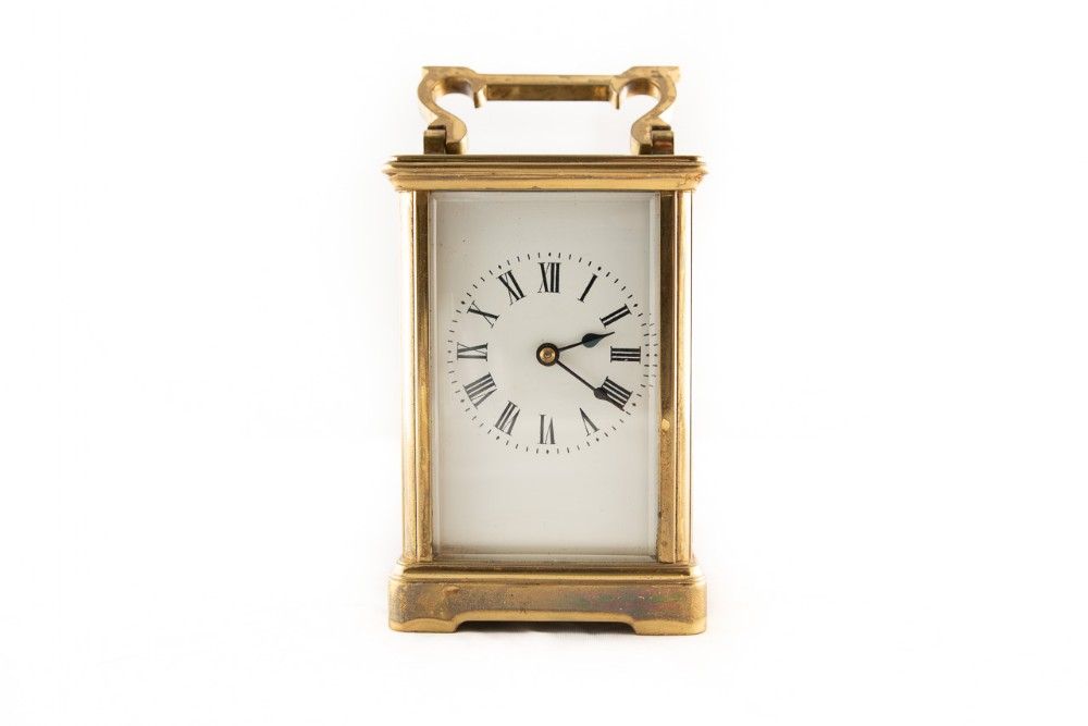 8 day timepiece brass cased french made carriage clock