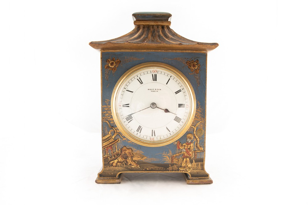 a rare 8 day blue chinosere cased table clock
